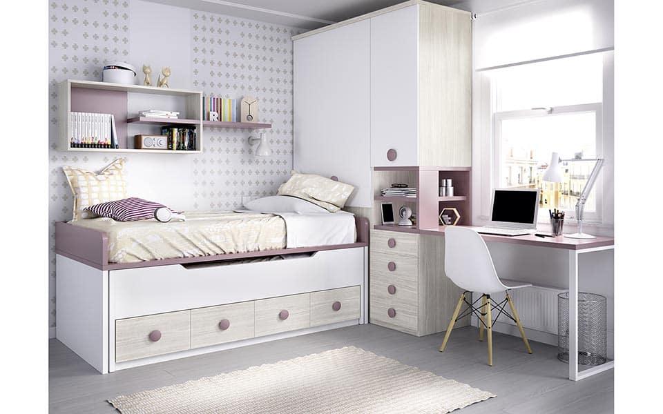 Compacto doble en color madera, blanco y rosa