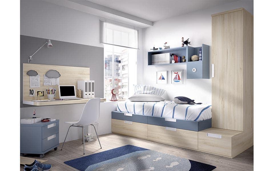 Habitación individual en color madera y azul
