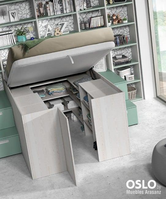 Cama juvenil elevable com armario abierto debajo