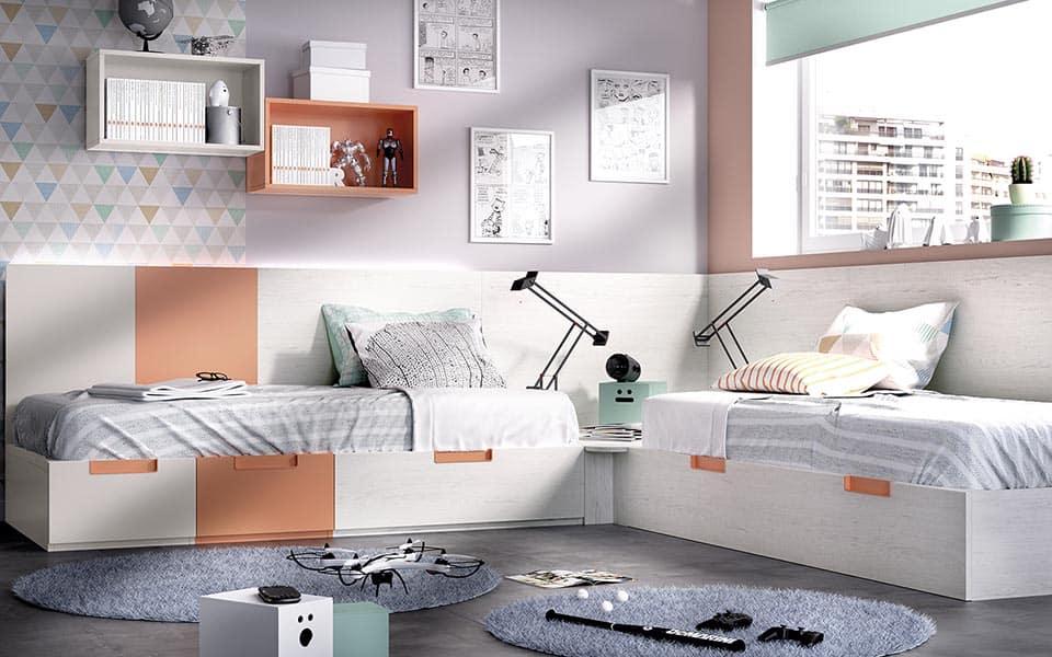 Habitación juvenil camas en rincón