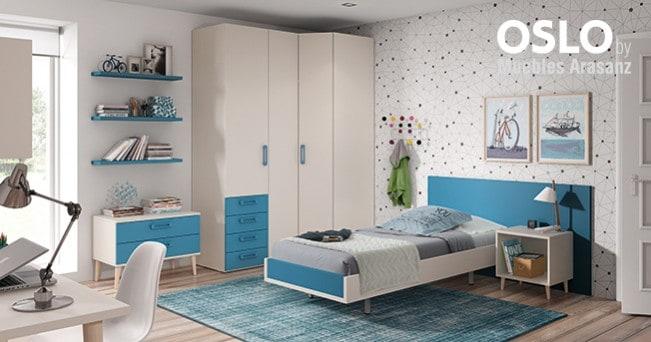 Habitación individual y armario esquinero. Color blanco y azul