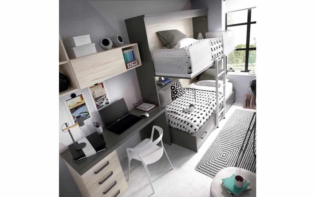 Habitación con cama inferior block y superior abatible abierta