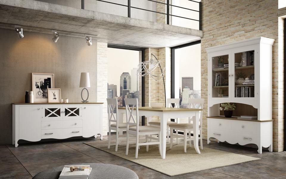 Comedor y aparador en color blanco