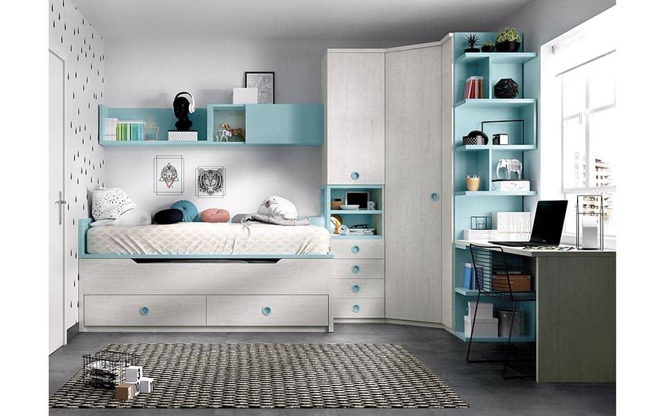 Compacto doble, armario esquinero y escritorio