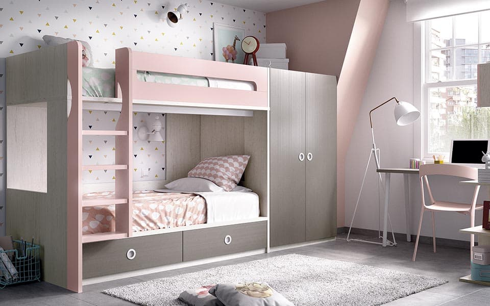 Habitación de niña con literas en gris y rosa y armario