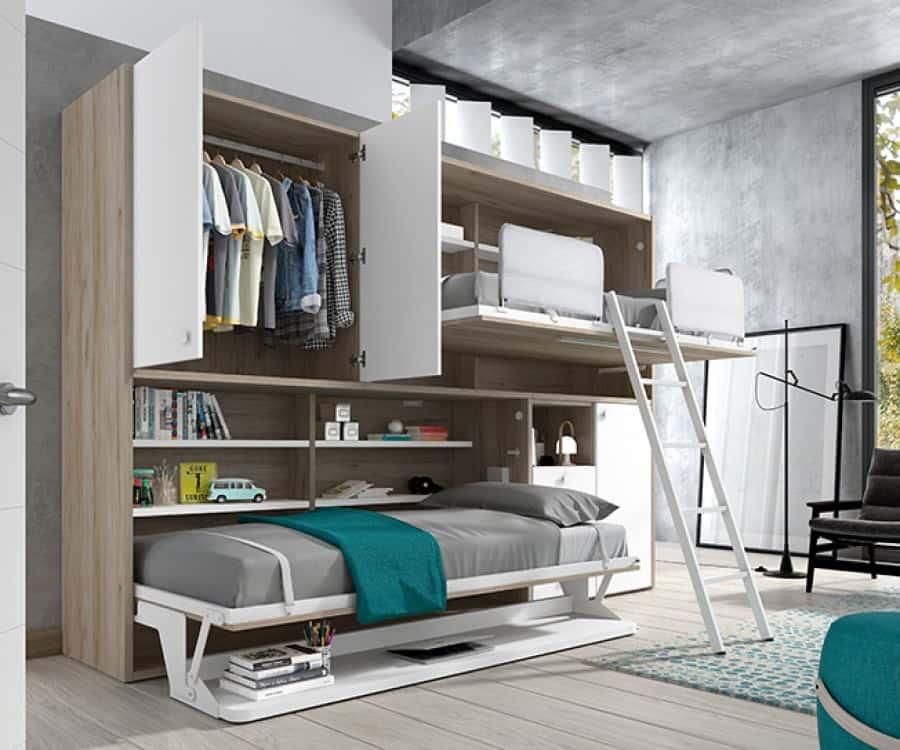 Dos camas abatibles y escritorio (abiertas)