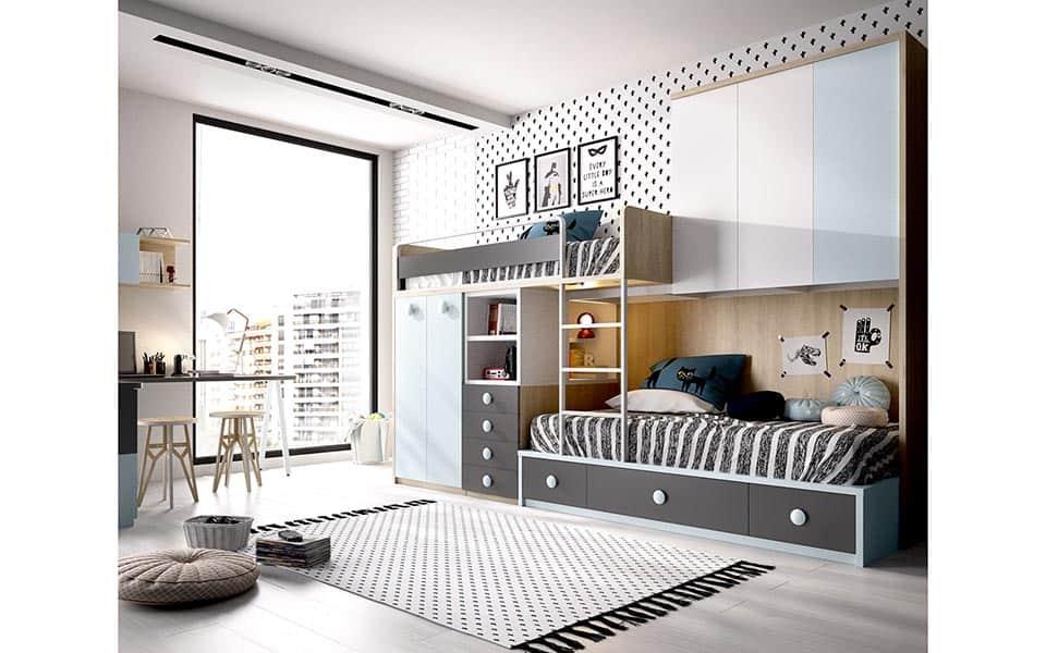 Habitación con cama tren y gran espacio de almacenaje