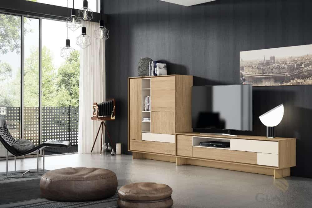 Módulo de televisión y armario. Roble europeo y lacado en color perla