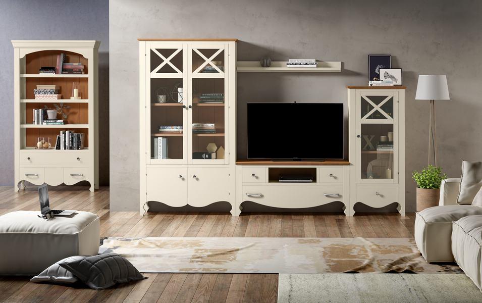 Muebles con estanterías en corte clásico blanco