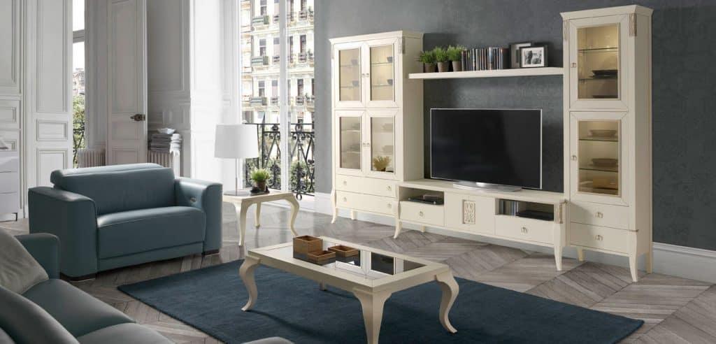 Muebles, armario con vitrina y mesa de centro en blanco