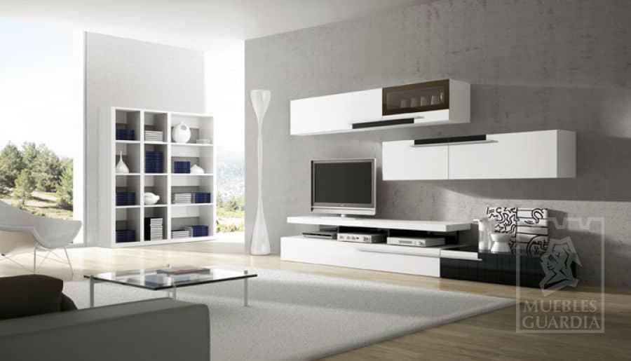 Mueble con estantería en blanco