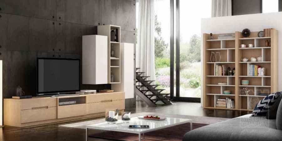 Mueble con estantería y armarios push. Roble natural, perla mate y moka