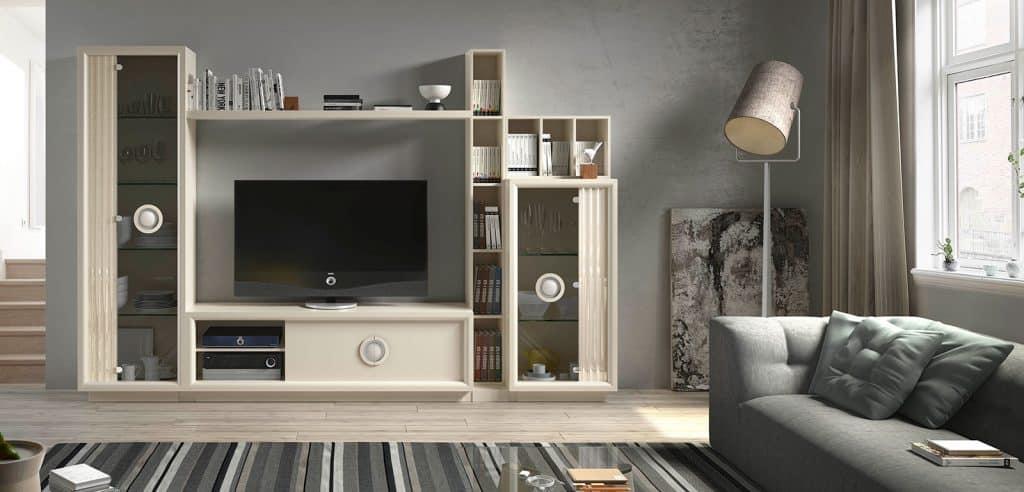 Módulo de televisión con estanterías, lacado en color lino