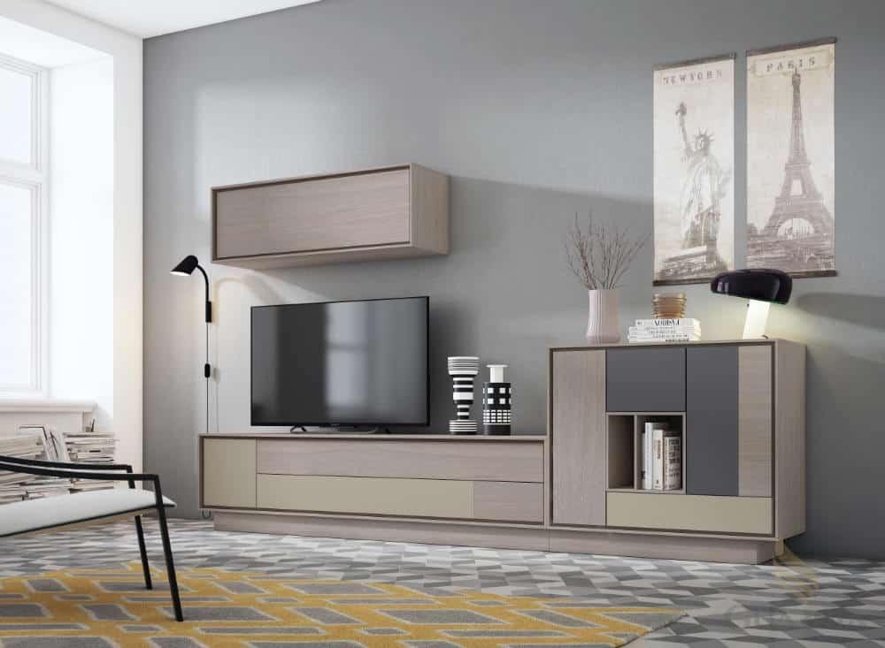 Mueble de corte moderno. Nogal artik con lacado marengo y moka