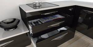Cajón en una cocina lacada en negro
