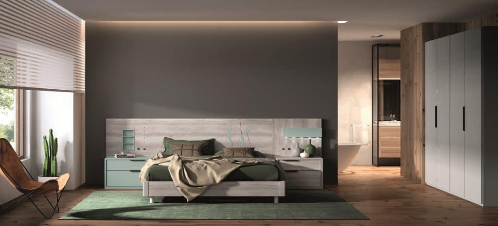 Dormitorio con detalles en verde
