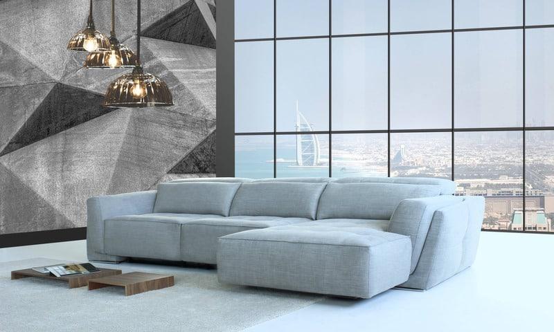 Sofá con asientos deslizantes y chaiselongue