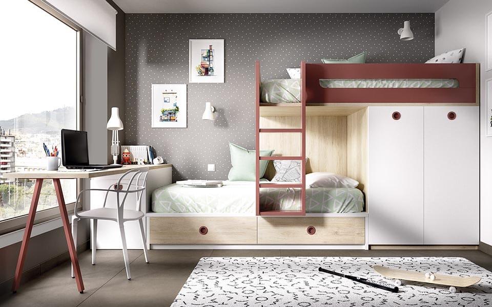 Cama tren juvenil con escritorio y armario integrado.