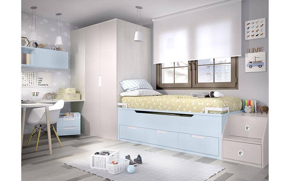 2 camas en un compacto, con escalera de acceso lateral.