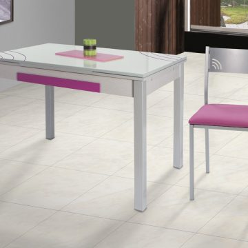 Mesa decorada extensible rosa y blanco