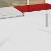Mesa extensible de cocina roja abierta