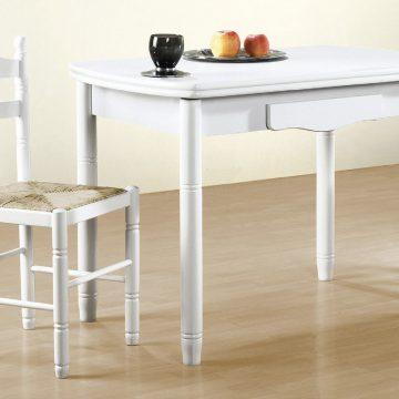 Mesa de madera de cocina blanca