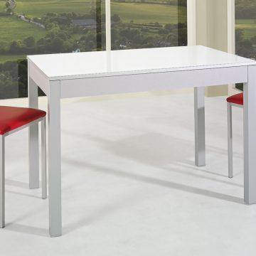 Mesa extensible de cocina blanca