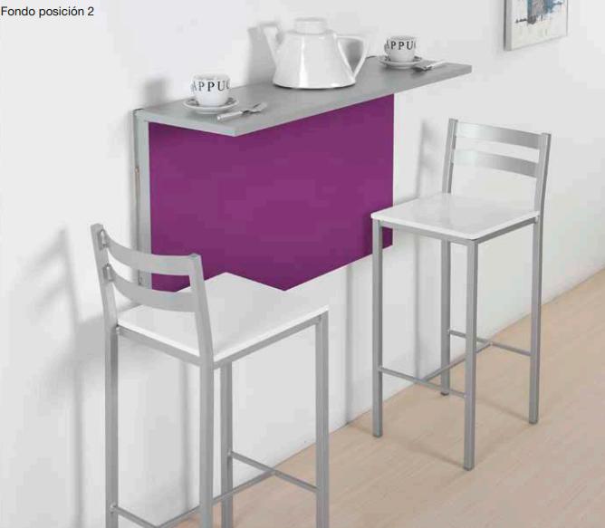 Mesa plegable de pared metálica en color morado