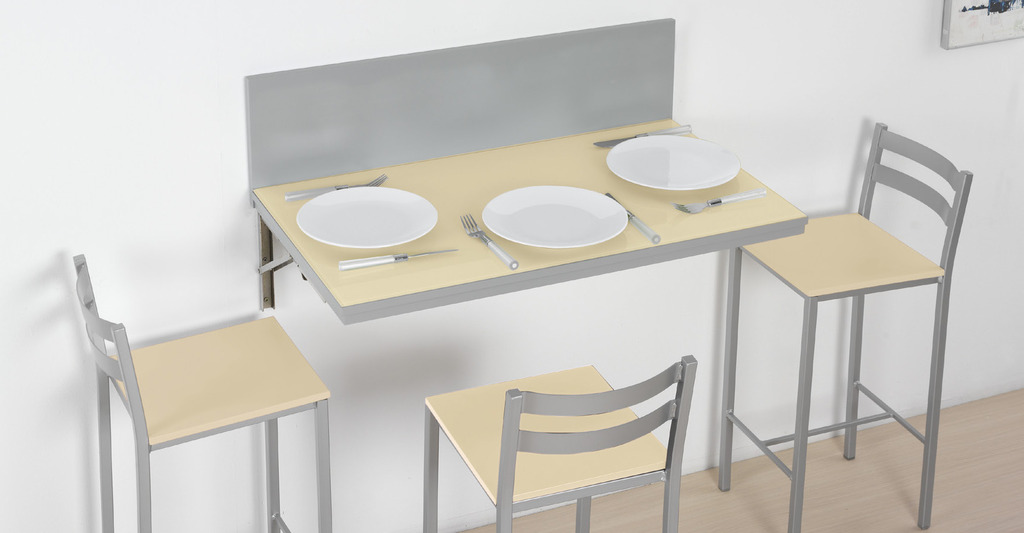 Mesa abatible de pared en color beige
