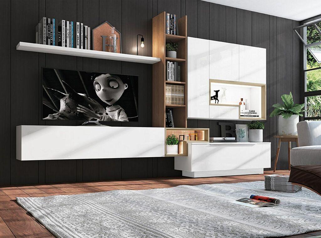 Estilo moderno para estanterías y almacenaje sobre televisor