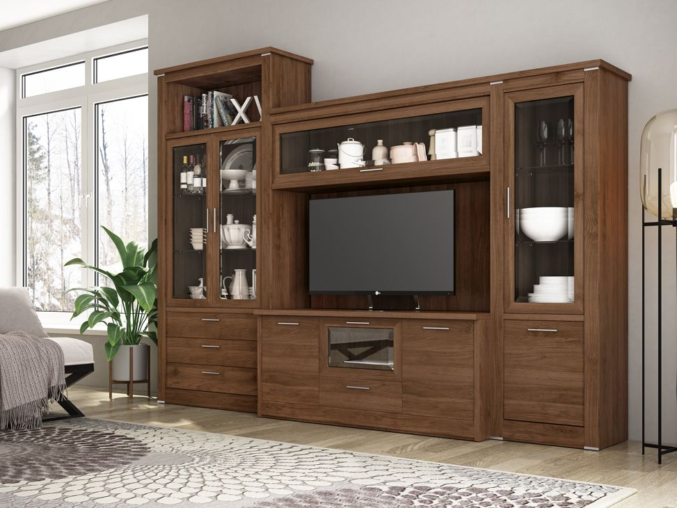 Vitrina y mueble de TV de estilo clásico