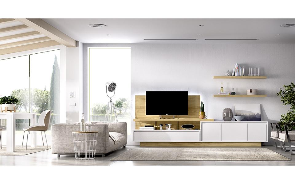 Mueble para TV en blanco y madera