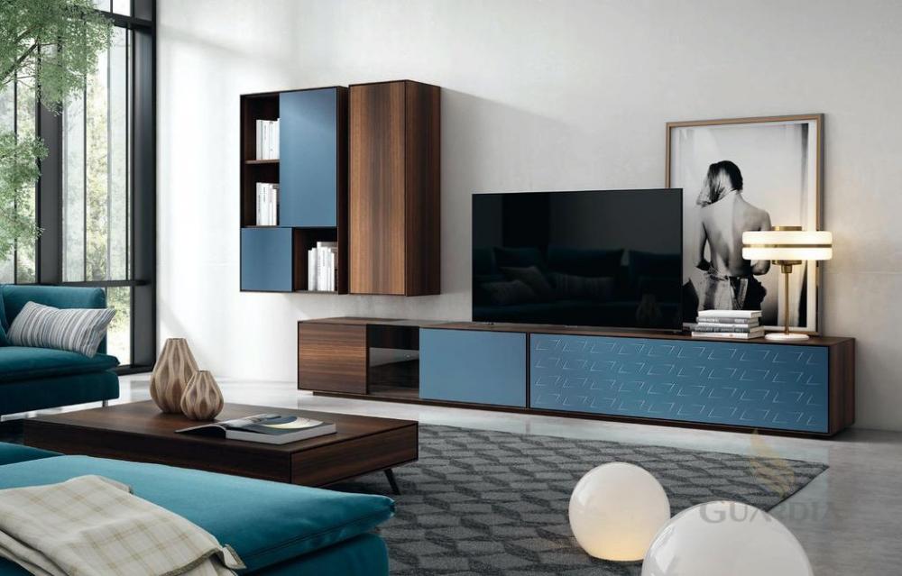 Salón con acabado lacado en colores variados sin tirador visto