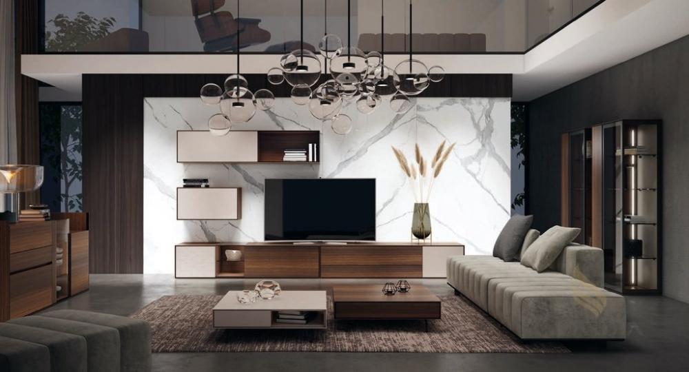 Salón con mesitas bajas bicolor en madera y lacado