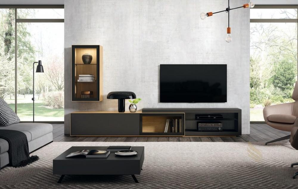 Estantería y mueble para televisor en roble europeo y color negro